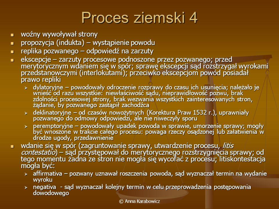Proces ziemski 4 woźny wywoływał strony