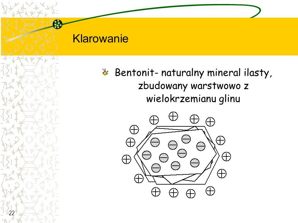 Klarowanie Bentonit- naturalny mineral ilasty, zbudowany warstwowo z wielokrzemianu glinu