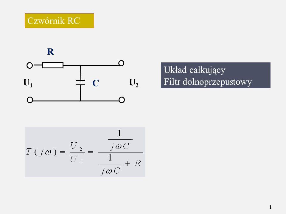 Czwórnik RC R U1 U2 C Układ całkujący Filtr dolnoprzepustowy C