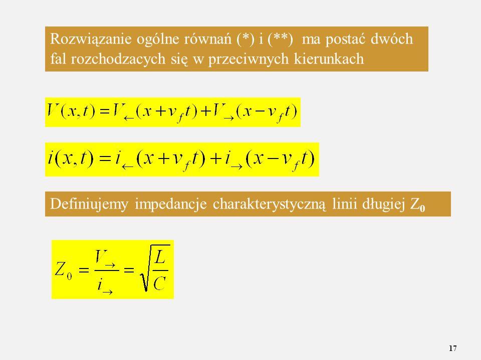 Rozwiązanie ogólne równań (. ) i (