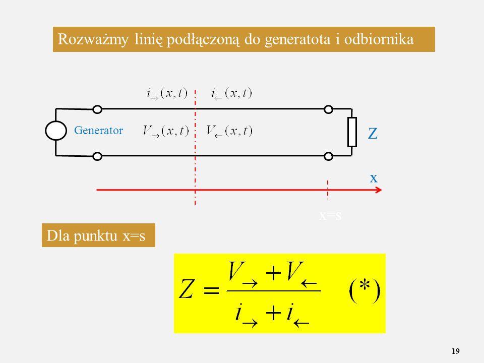 Rozważmy linię podłączoną do generatota i odbiornika