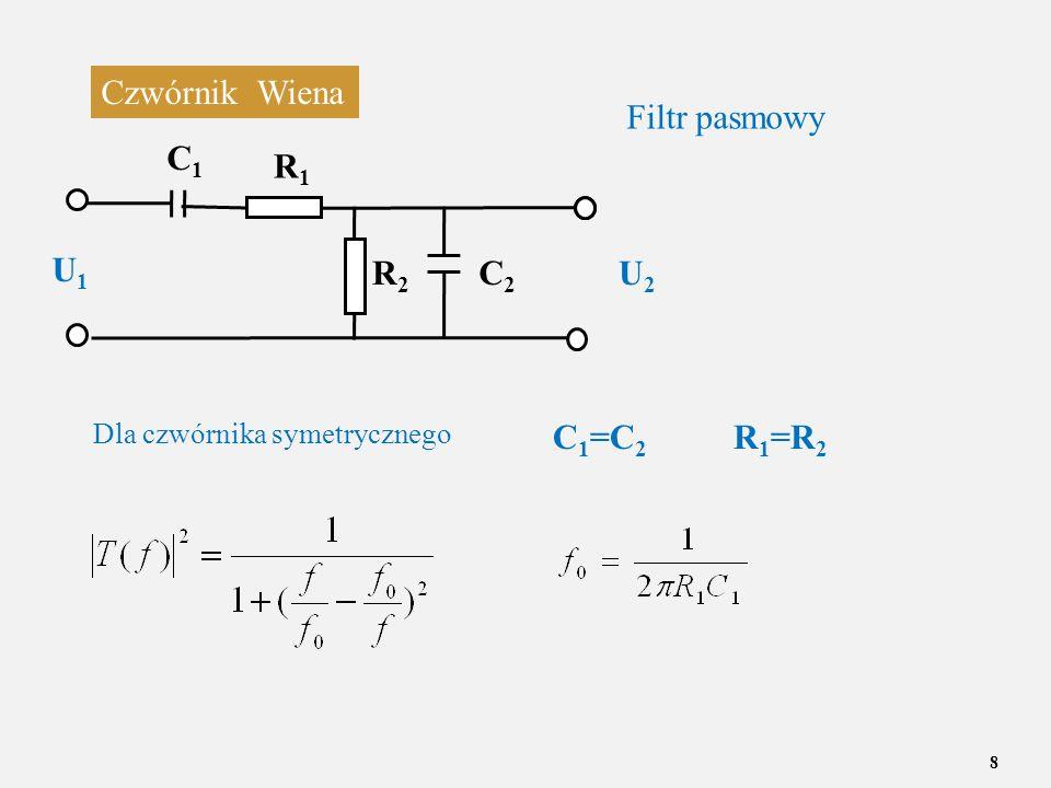 Czwórnik Wiena Filtr pasmowy C1 R1 U1 R2 C2 U2 C1=C2 R1=R2