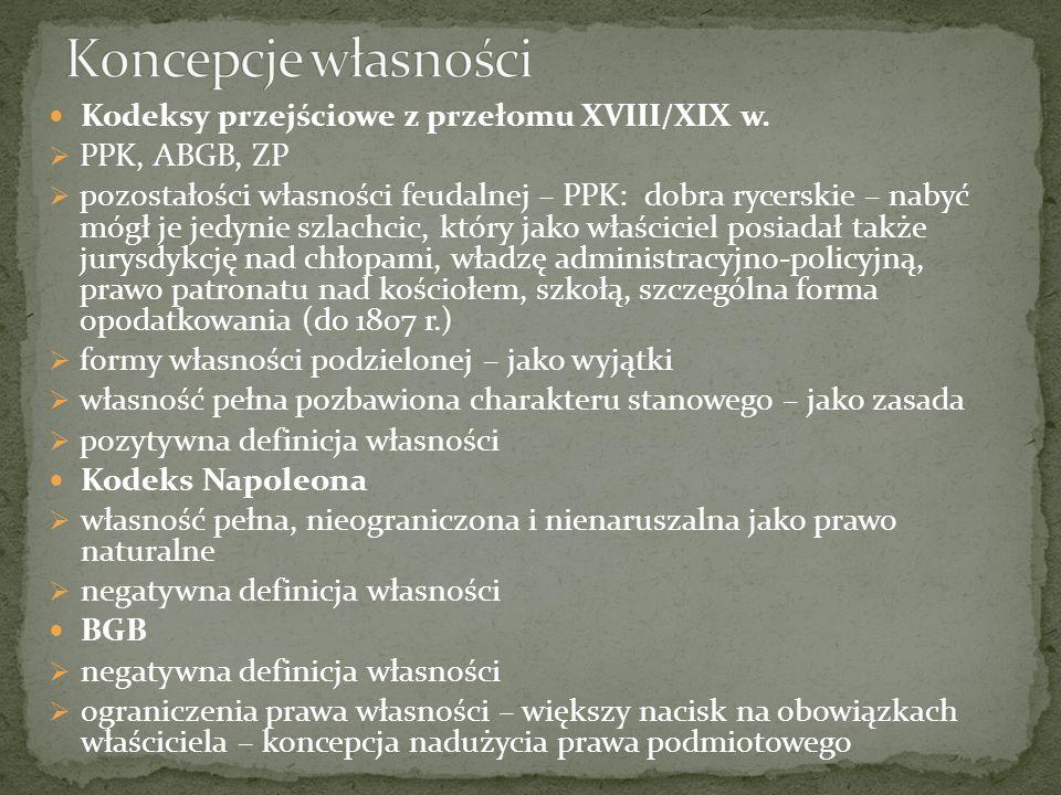 Koncepcje własności Kodeksy przejściowe z przełomu XVIII/XIX w.