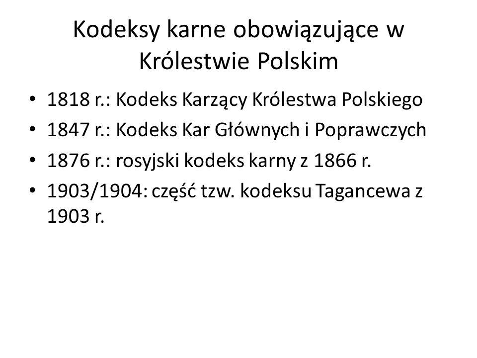 Kodeksy karne obowiązujące w Królestwie Polskim