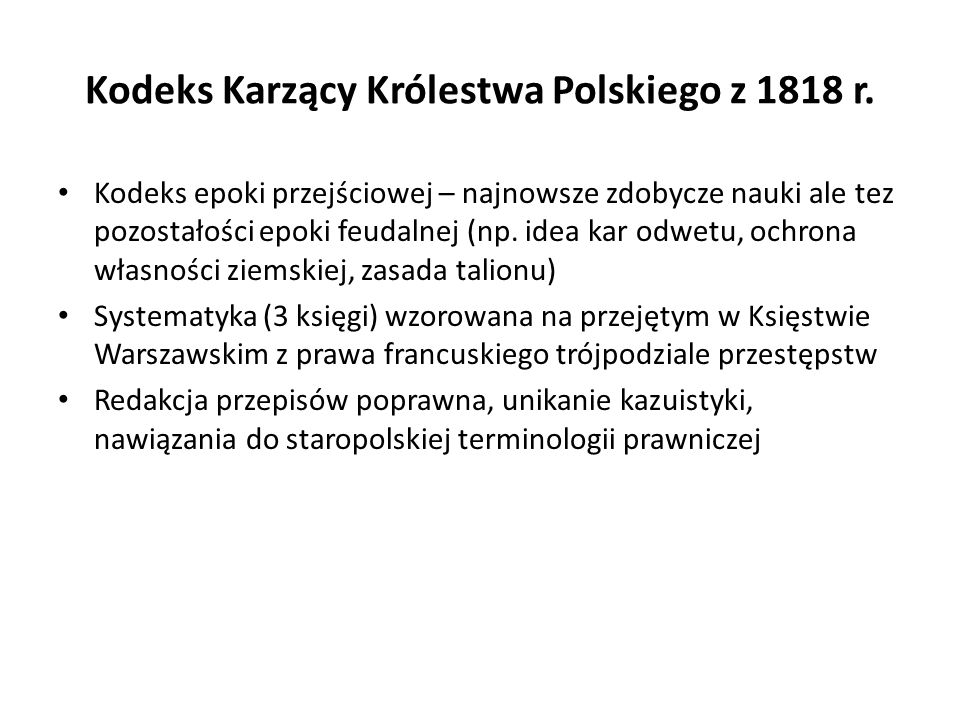 Kodeks Karzący Królestwa Polskiego z 1818 r.