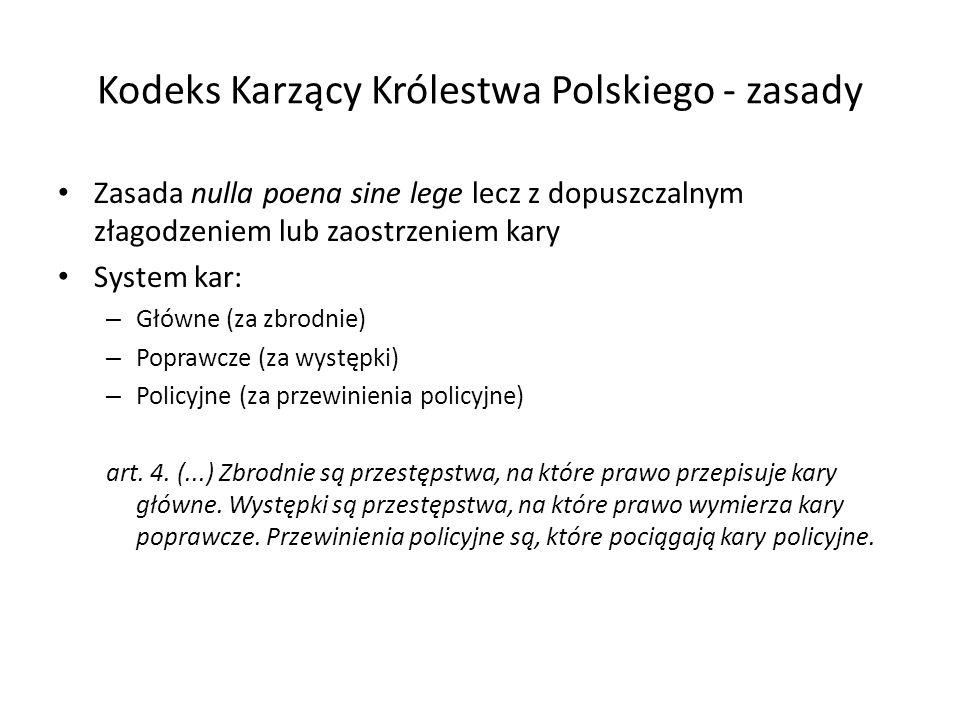 Kodeks Karzący Królestwa Polskiego - zasady