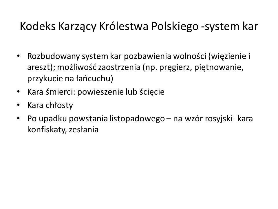 Kodeks Karzący Królestwa Polskiego -system kar