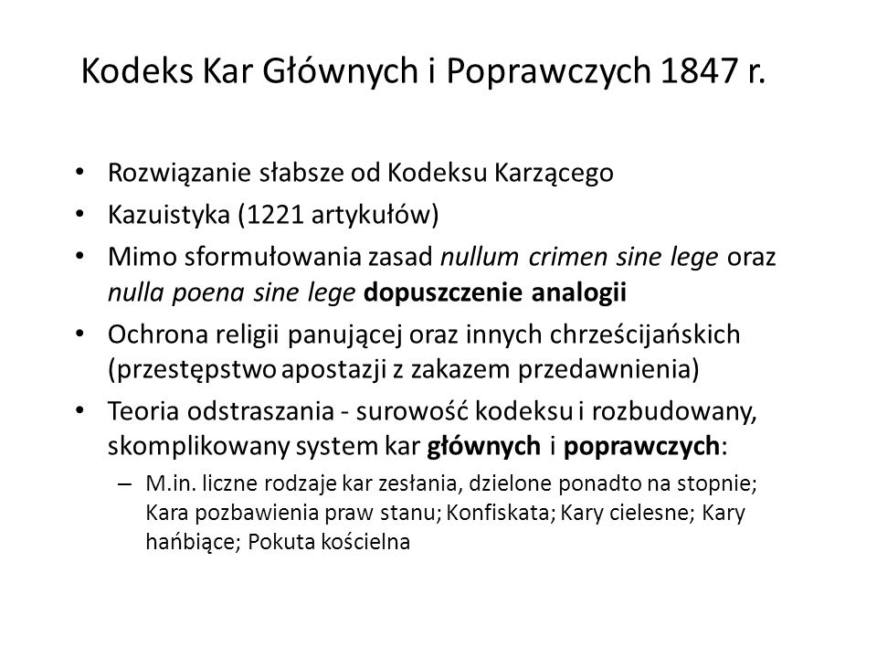 Kodeks Kar Głównych i Poprawczych 1847 r.