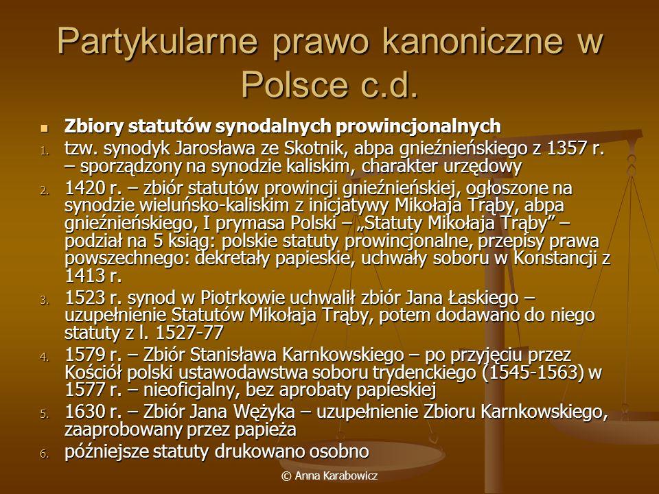 Partykularne prawo kanoniczne w Polsce c.d.