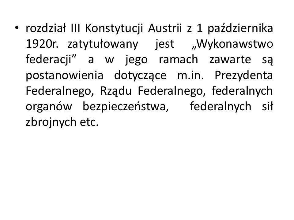rozdział III Konstytucji Austrii z 1 października 1920r