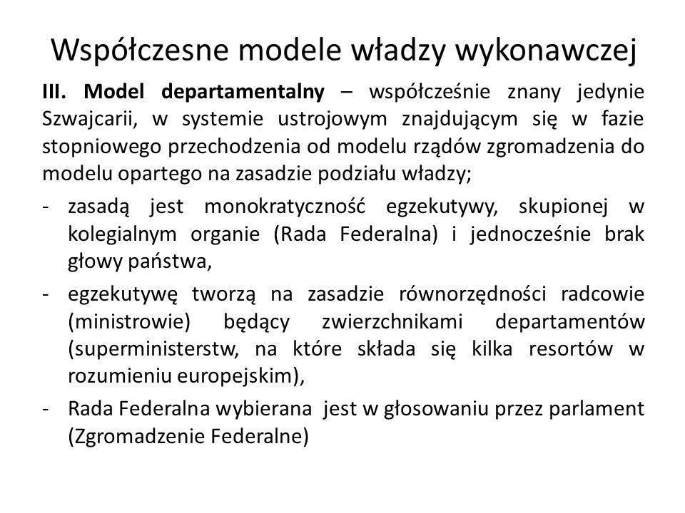 Współczesne modele władzy wykonawczej