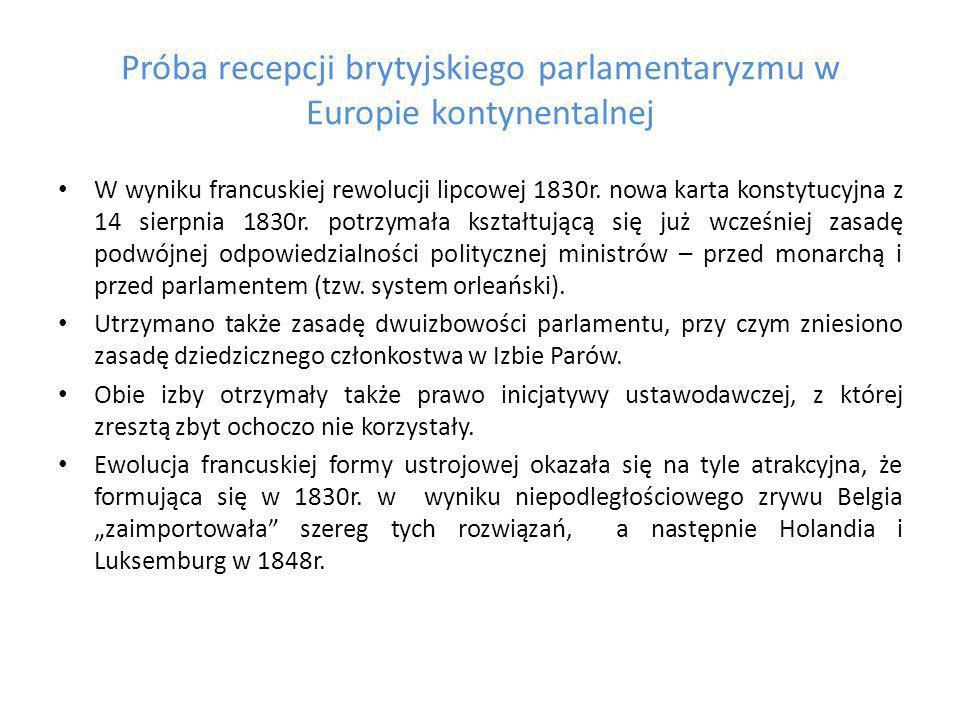 Próba recepcji brytyjskiego parlamentaryzmu w Europie kontynentalnej