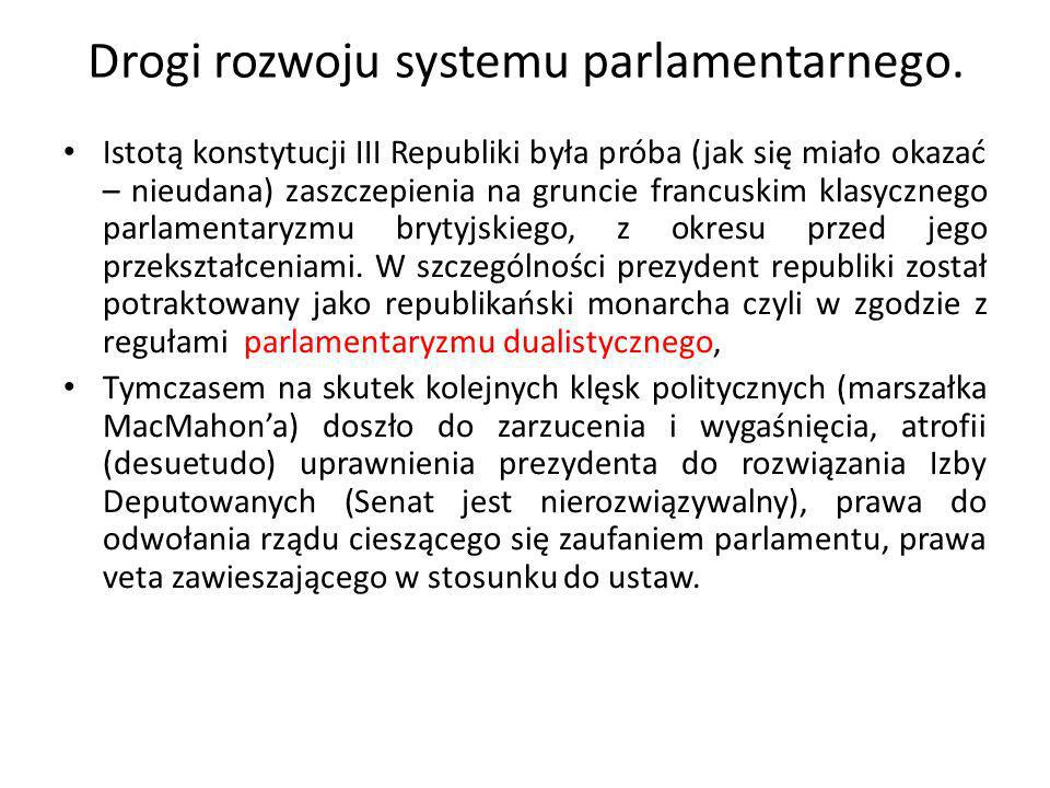 Drogi rozwoju systemu parlamentarnego.