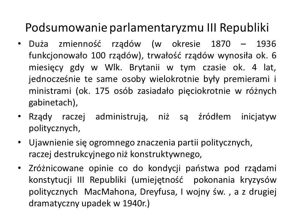 Podsumowanie parlamentaryzmu III Republiki