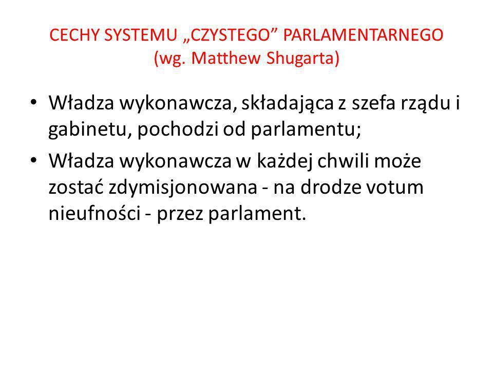 """CECHY SYSTEMU """"CZYSTEGO PARLAMENTARNEGO (wg. Matthew Shugarta)"""