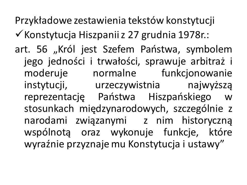 Przykładowe zestawienia tekstów konstytucji