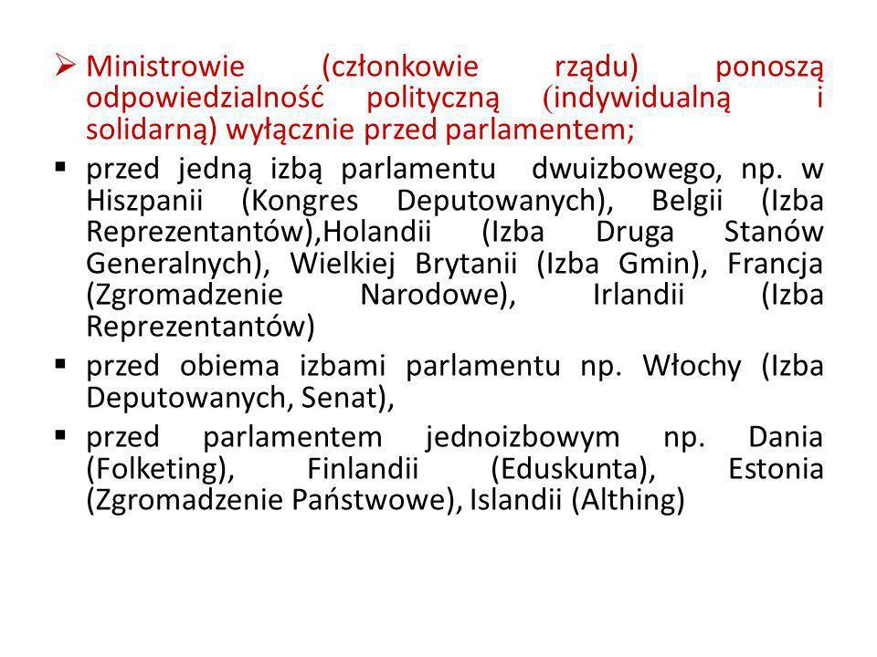 Ministrowie (członkowie rządu) ponoszą odpowiedzialność polityczną (indywidualną i solidarną) wyłącznie przed parlamentem;