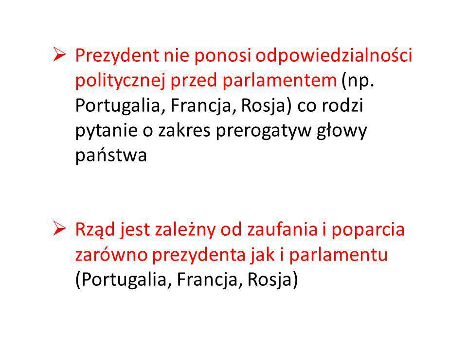 Prezydent nie ponosi odpowiedzialności politycznej przed parlamentem (np. Portugalia, Francja, Rosja) co rodzi pytanie o zakres prerogatyw głowy państwa