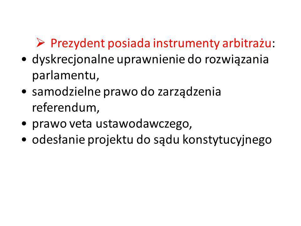 Prezydent posiada instrumenty arbitrażu: