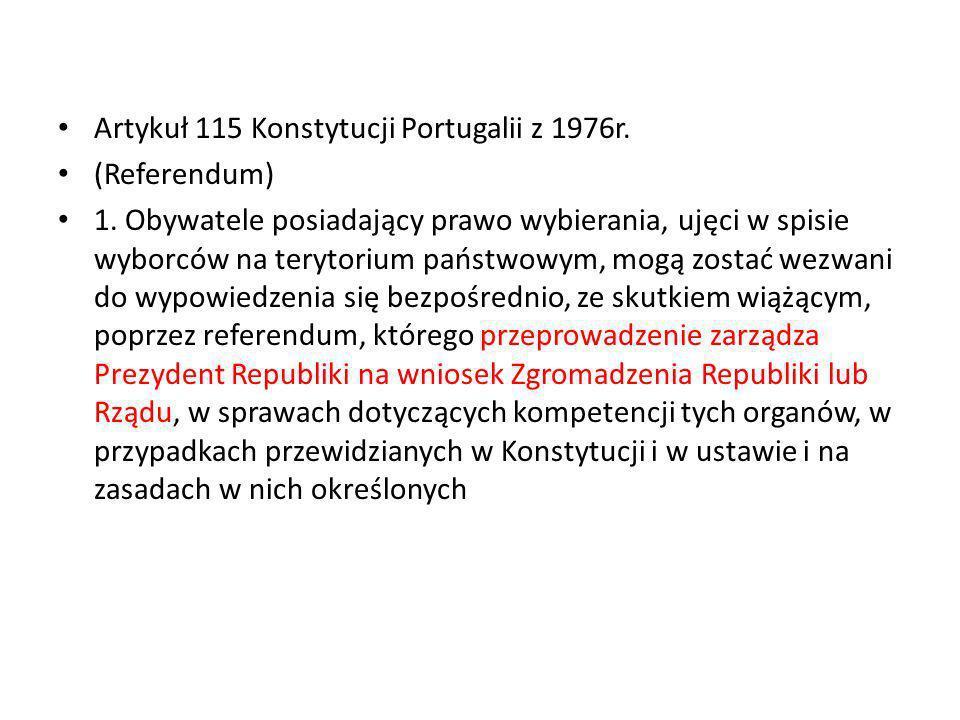 Artykuł 115 Konstytucji Portugalii z 1976r.