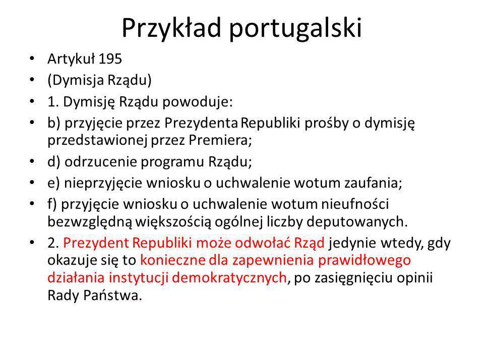 Przykład portugalski Artykuł 195 (Dymisja Rządu)