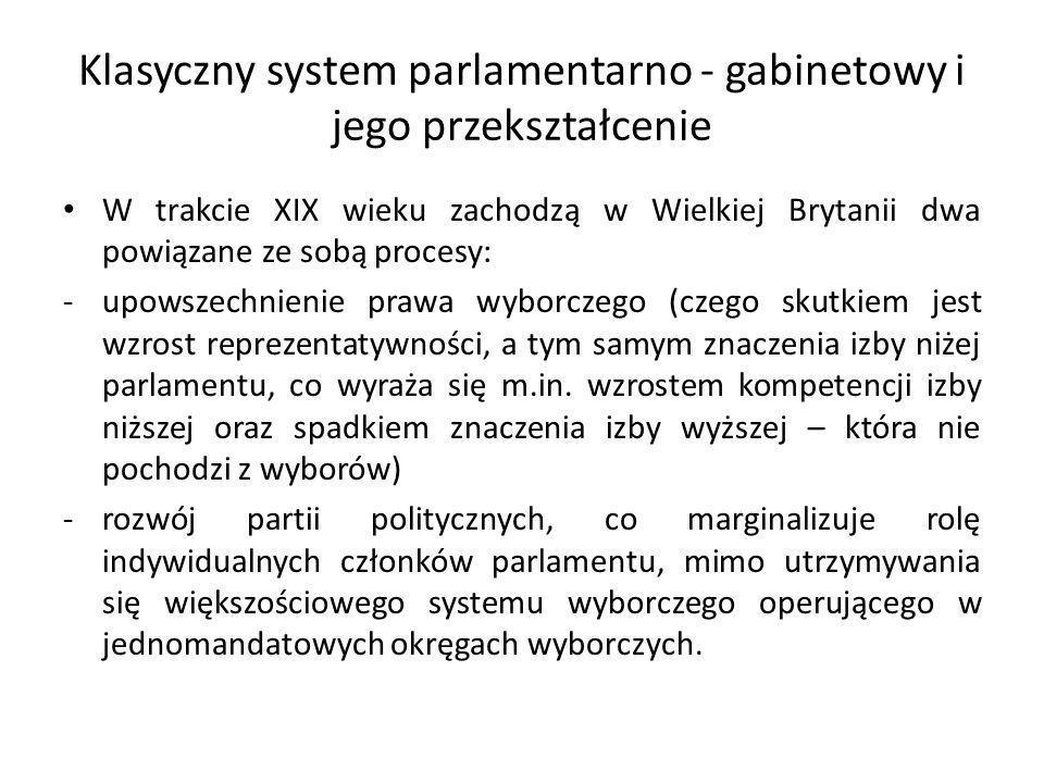 Klasyczny system parlamentarno - gabinetowy i jego przekształcenie