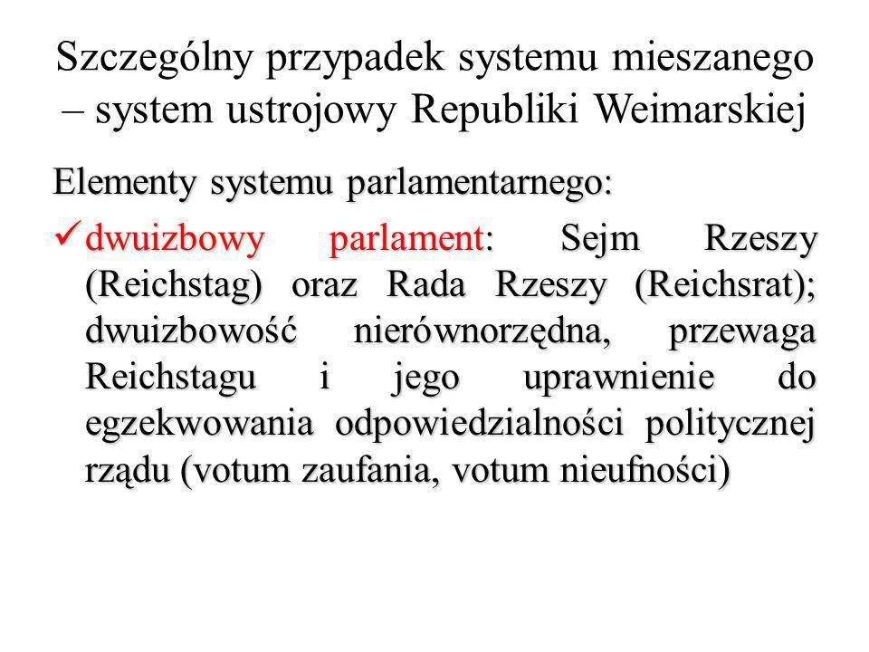 Szczególny przypadek systemu mieszanego – system ustrojowy Republiki Weimarskiej