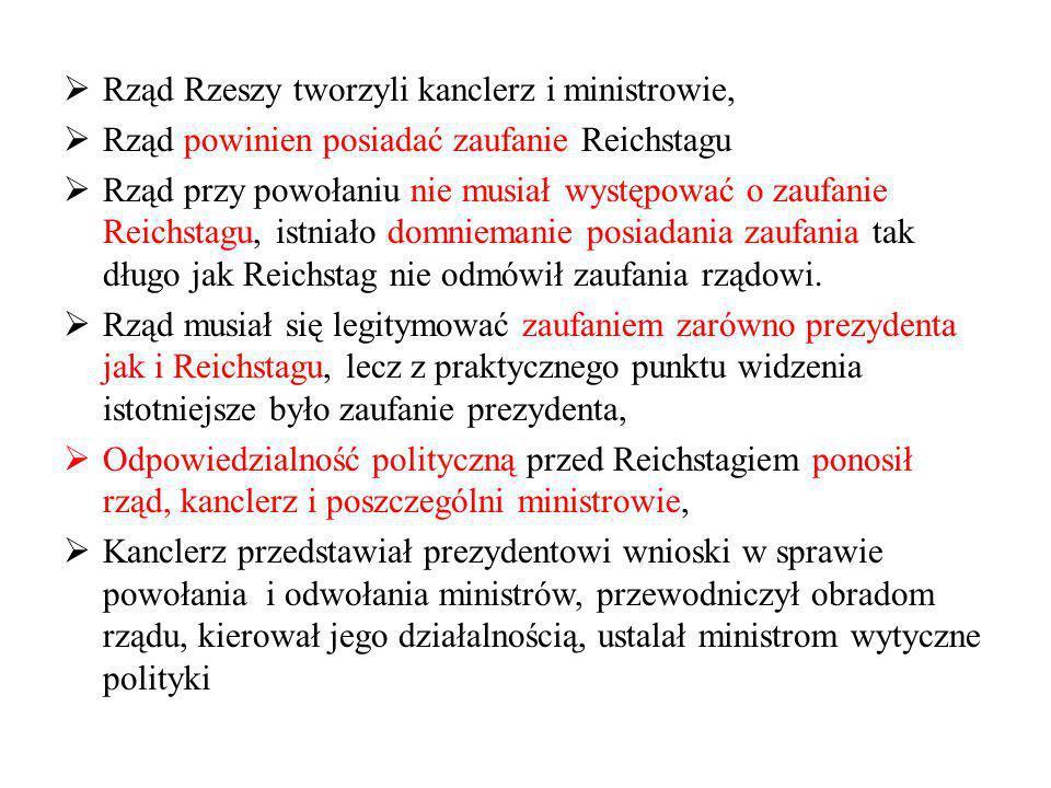 Rząd Rzeszy tworzyli kanclerz i ministrowie,