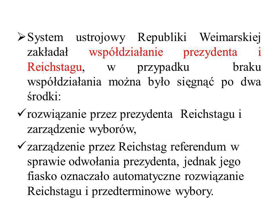 System ustrojowy Republiki Weimarskiej zakładał współdziałanie prezydenta i Reichstagu, w przypadku braku współdziałania można było sięgnąć po dwa środki: