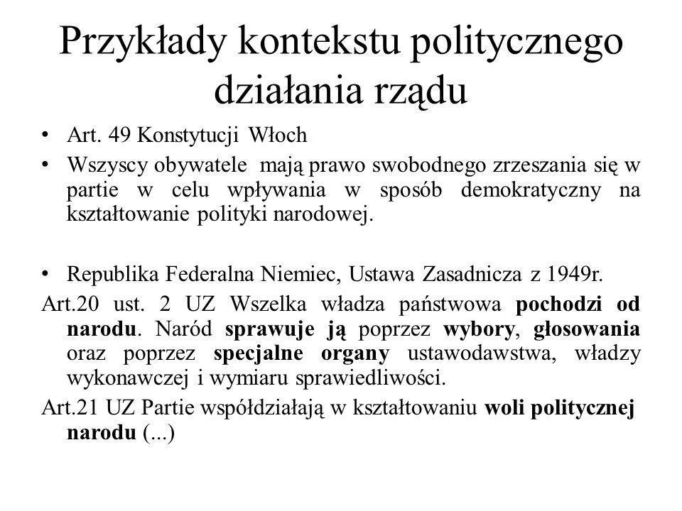 Przykłady kontekstu politycznego działania rządu