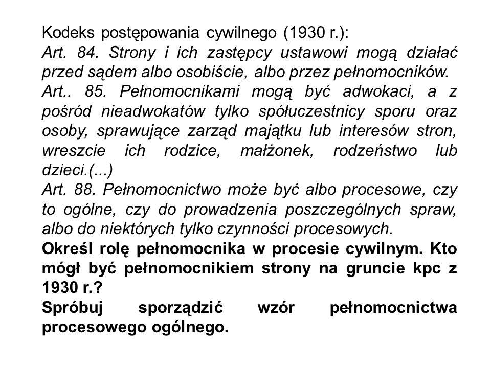 Kodeks postępowania cywilnego (1930 r.):