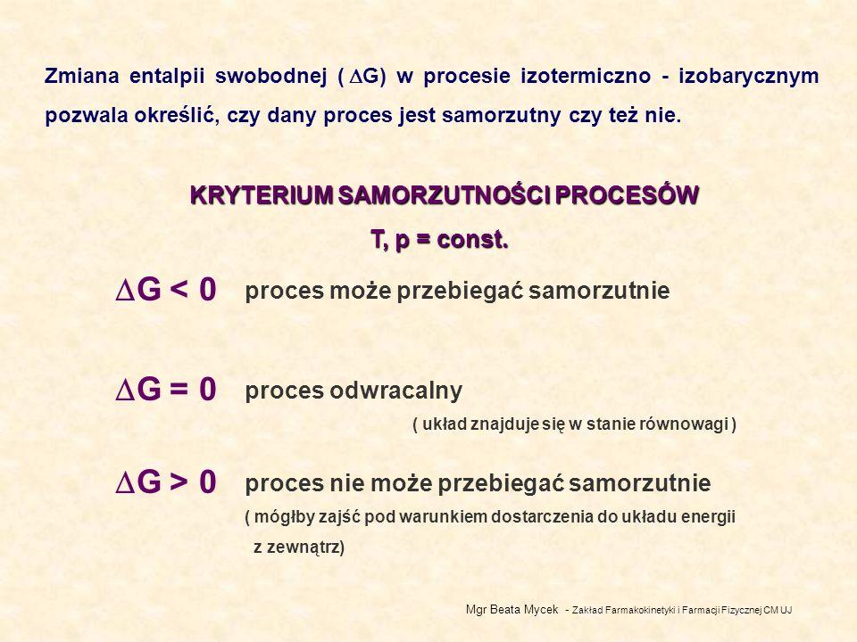 G < 0 G = 0 G > 0 KRYTERIUM SAMORZUTNOŚCI PROCESÓW