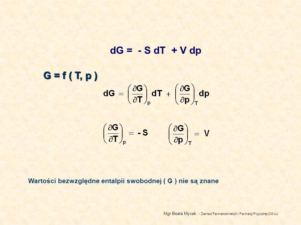 dG = - S dT + V dp G = f ( T, p ) Wartości bezwzględne entalpii swobodnej ( G ) nie są znane.