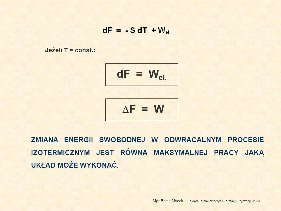 Jeżeli T = const.: dF = Wel. F = W.