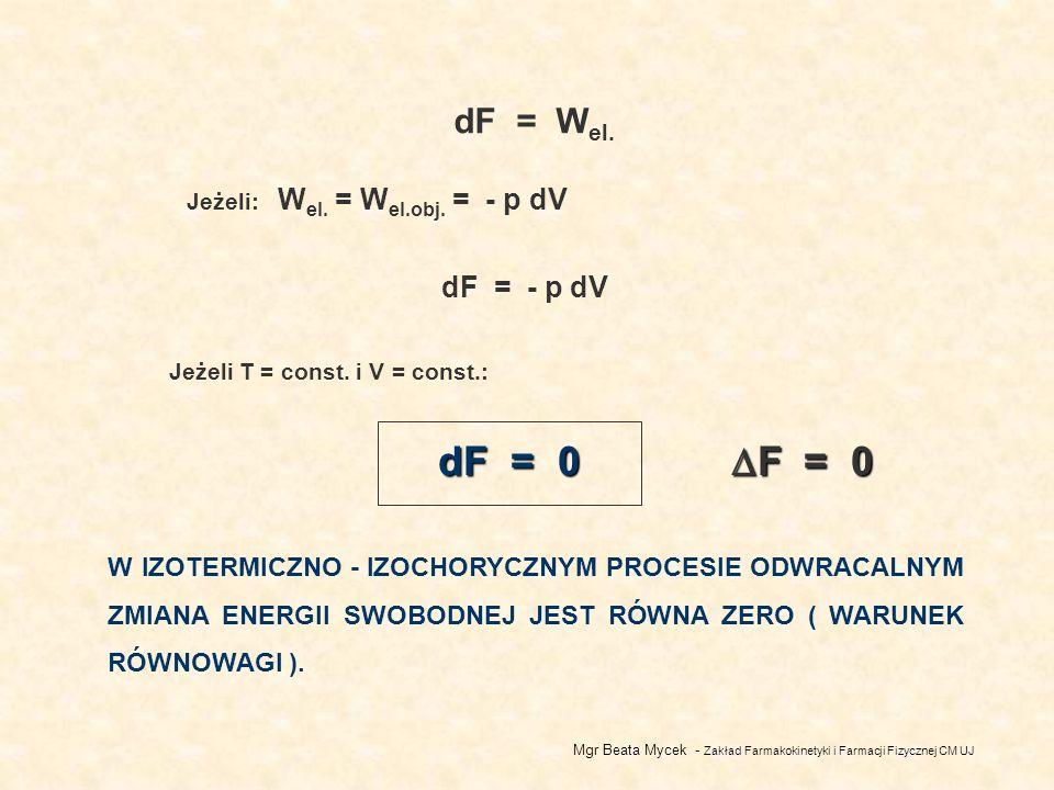 dF = Wel. Jeżeli: Wel. = Wel.obj. = - p dV. dF = - p dV. Jeżeli T = const. i V = const.: dF = 0.