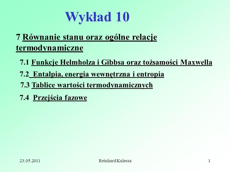Wykład 10 7 Równanie stanu oraz ogólne relacje termodynamiczne