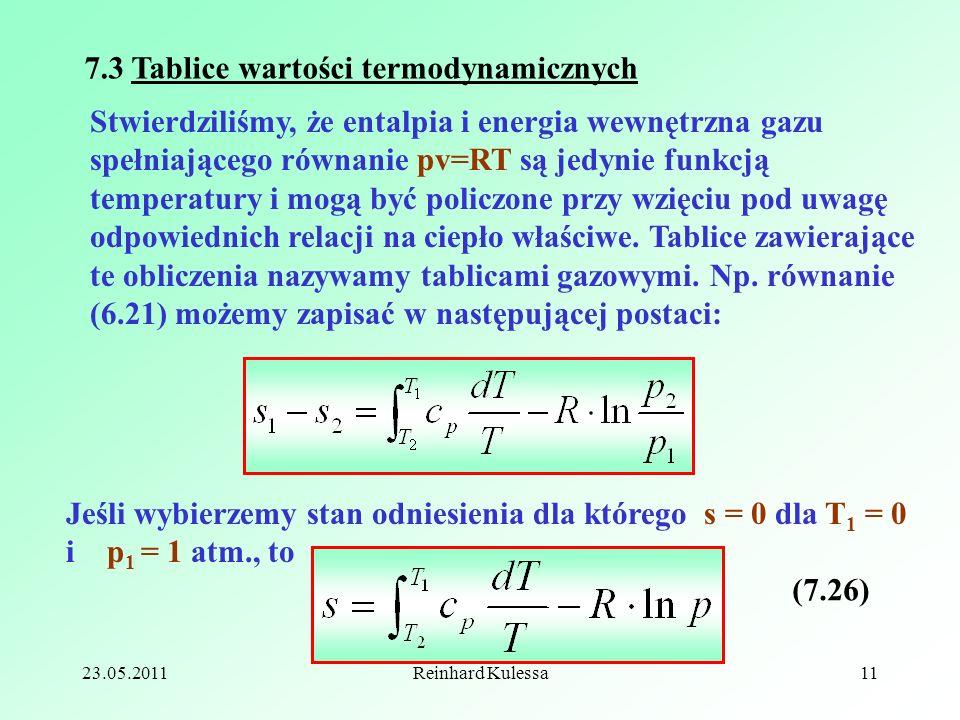 7.3 Tablice wartości termodynamicznych