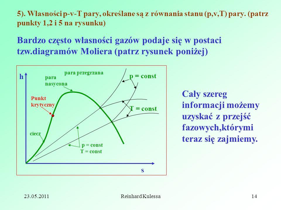 5). Własności p-v-T pary, określane są z równania stanu (p,v,T) pary