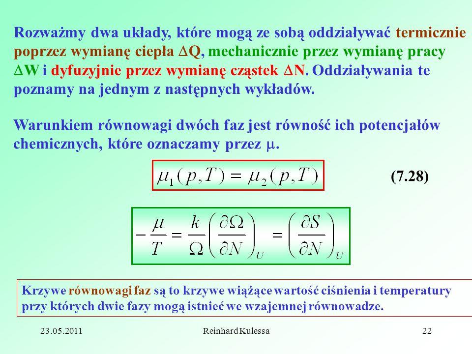 Rozważmy dwa układy, które mogą ze sobą oddziaływać termicznie poprzez wymianę ciepła Q, mechanicznie przez wymianę pracy W i dyfuzyjnie przez wymianę cząstek N. Oddziaływania te poznamy na jednym z następnych wykładów.