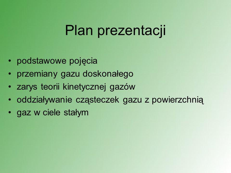 Plan prezentacji podstawowe pojęcia przemiany gazu doskonałego