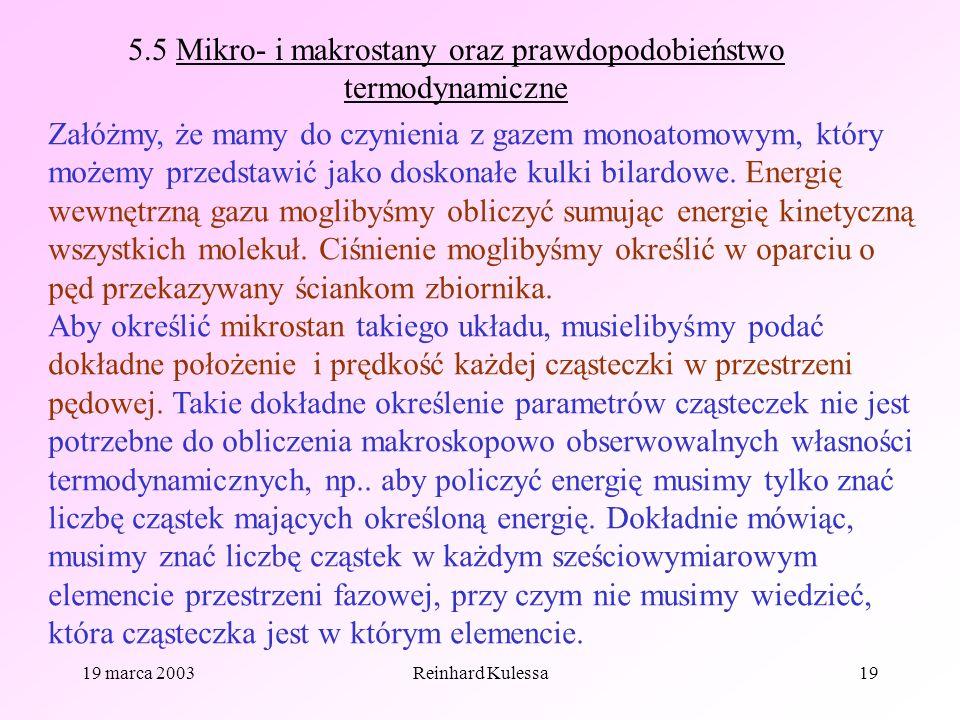 5.5 Mikro- i makrostany oraz prawdopodobieństwo termodynamiczne