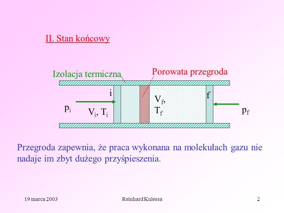 II. Stan końcowy Porowata przegroda Izolacja termiczna i f Vf, Tf pi