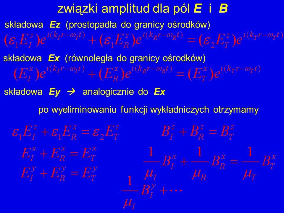 związki amplitud dla pól E i B