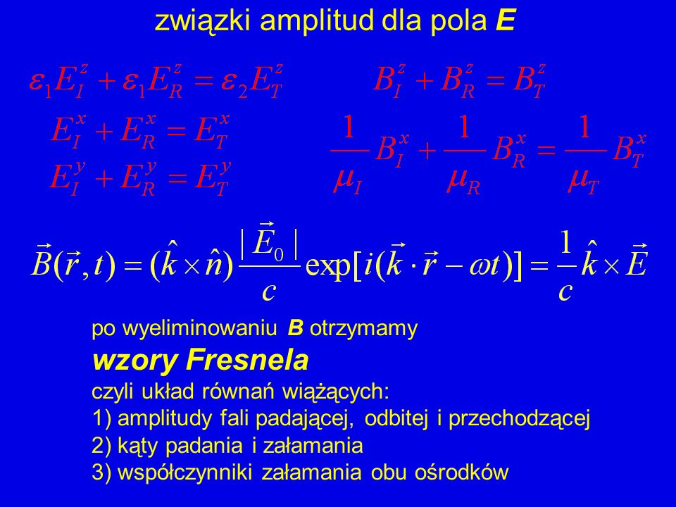 związki amplitud dla pola E