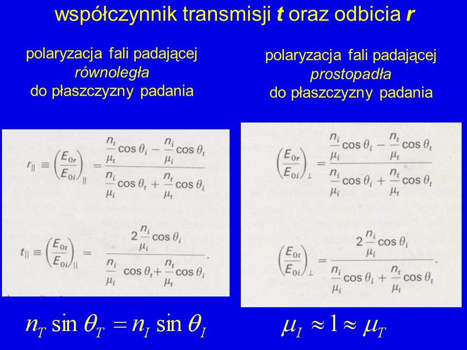współczynnik transmisji t oraz odbicia r