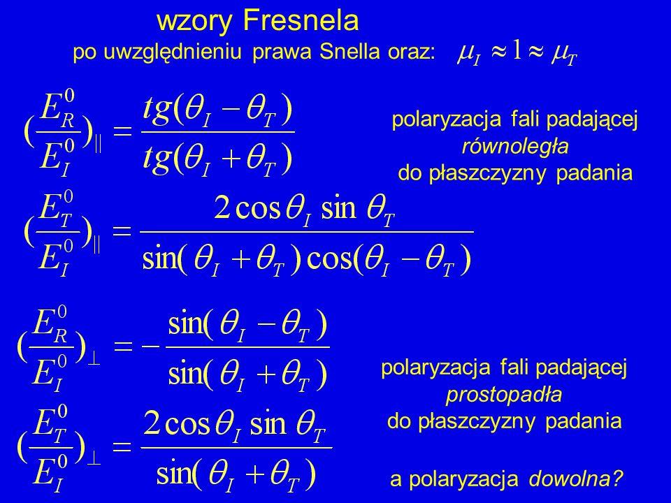 wzory Fresnela po uwzględnieniu prawa Snella oraz: