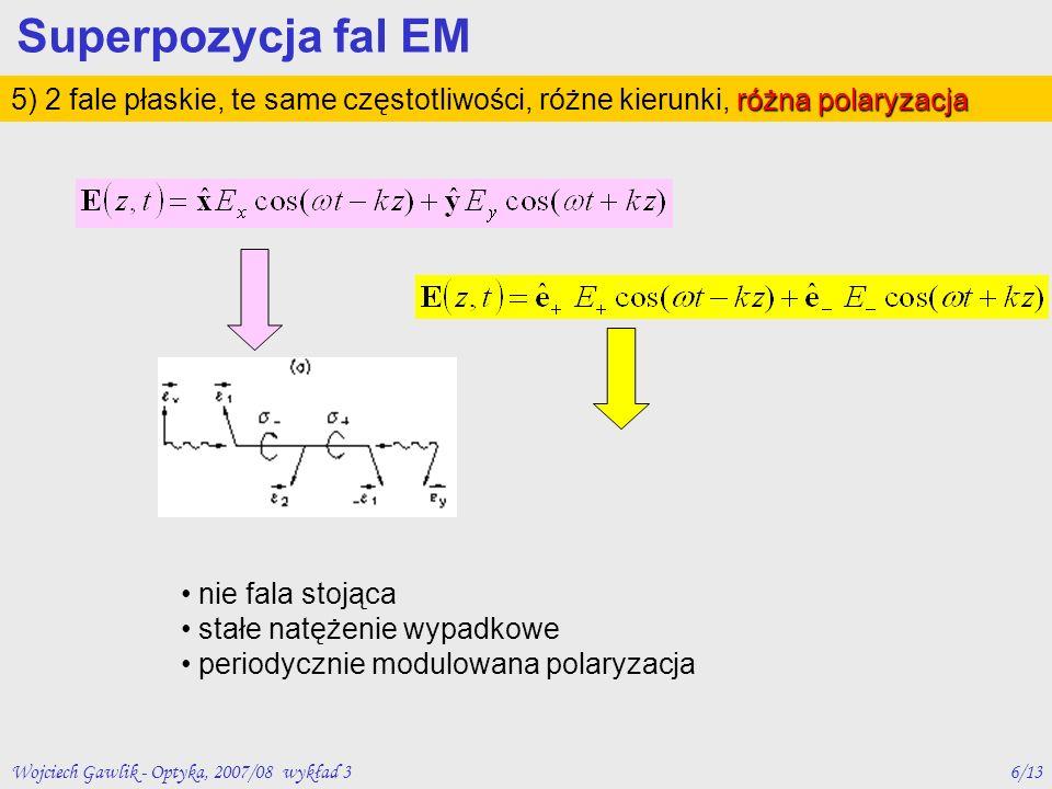 Superpozycja fal EM 5) 2 fale płaskie, te same częstotliwości, różne kierunki, różna polaryzacja. nie fala stojąca.
