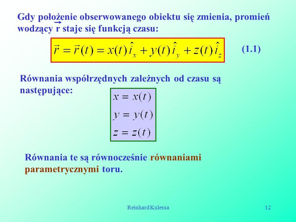 Równania współrzędnych zależnych od czasu są następujące:
