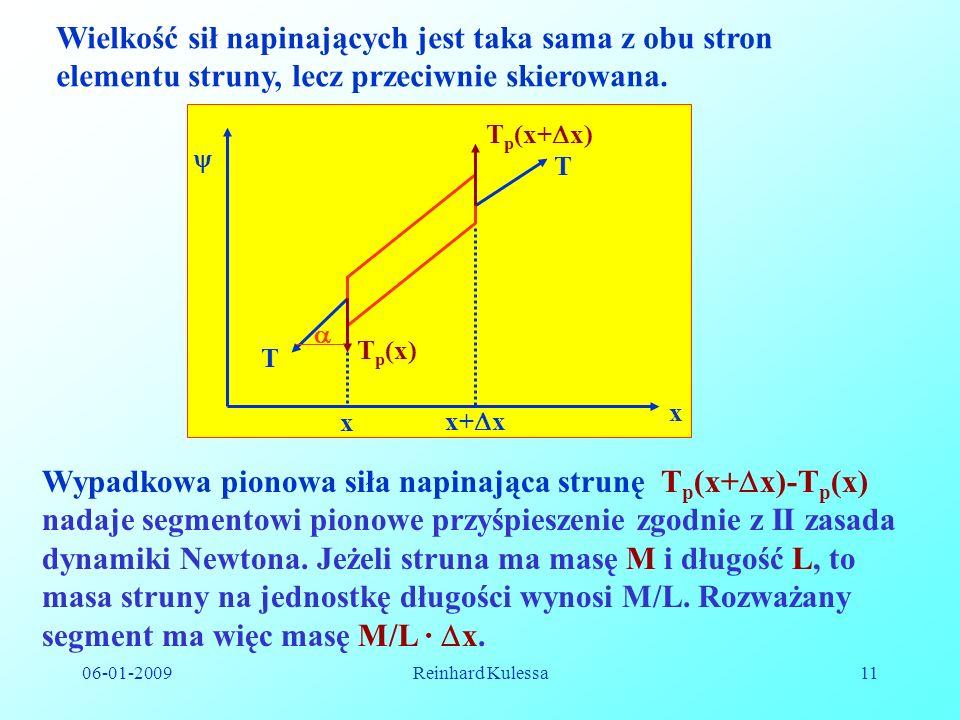 Wielkość sił napinających jest taka sama z obu stron elementu struny, lecz przeciwnie skierowana.