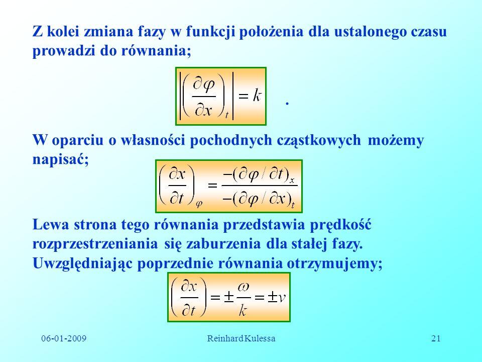 Z kolei zmiana fazy w funkcji położenia dla ustalonego czasu